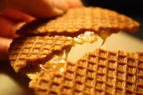 broken waffle with gooey caramel