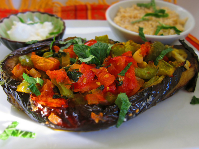 aubergine with peppers and parsley