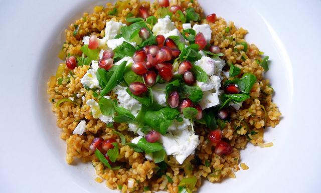 couscous, Feta, pomegranate and parsley