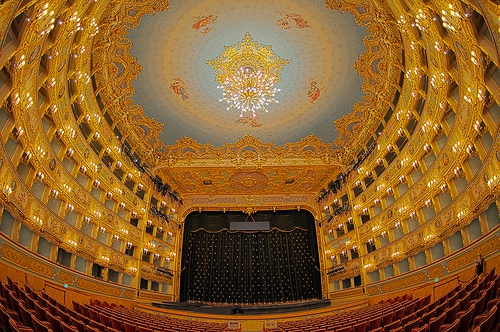 gold and blue interior of the opera