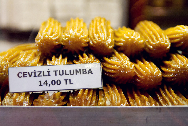 stacks of tulumba with price tag