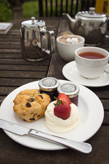 Strawberries, cream, scones, jam and tea. The perfect combination for an afternoon tea.